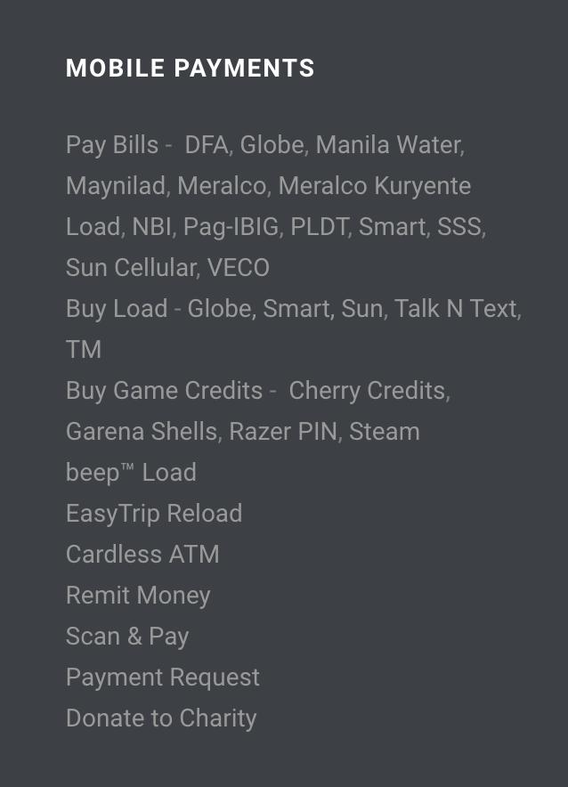 Mobile payment list Coins.ph